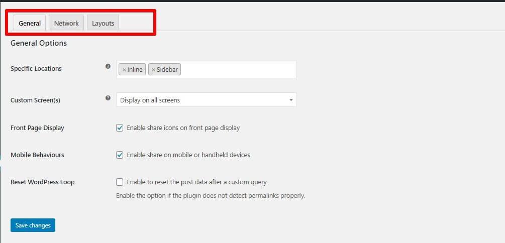opciones del plugin easy social sharing