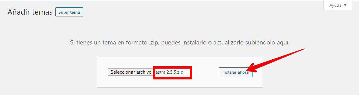 subir archivo tema astra pro