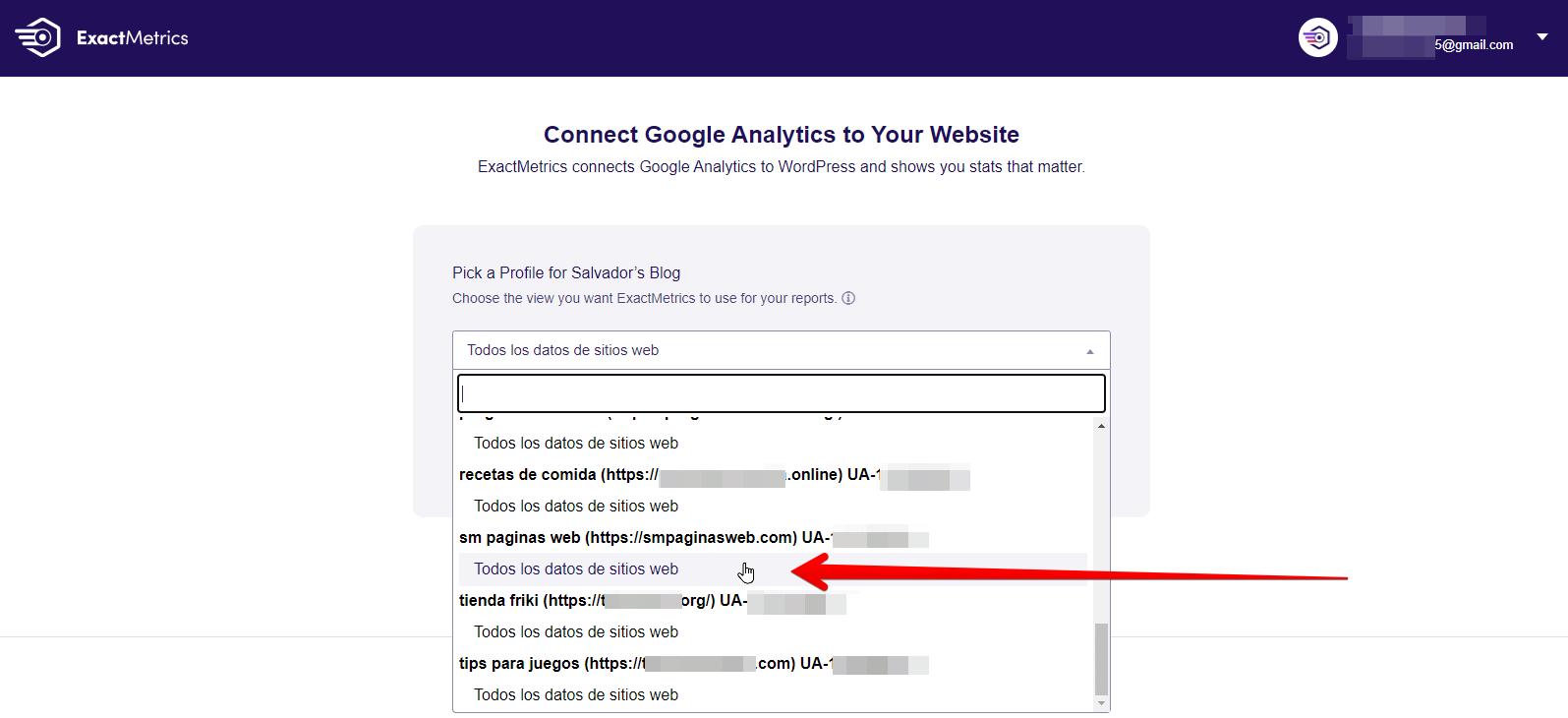 elegir cuenta de analytics