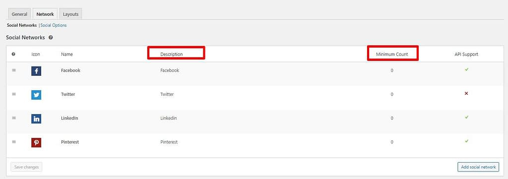 Easy Social Sharing configurando opciones de red
