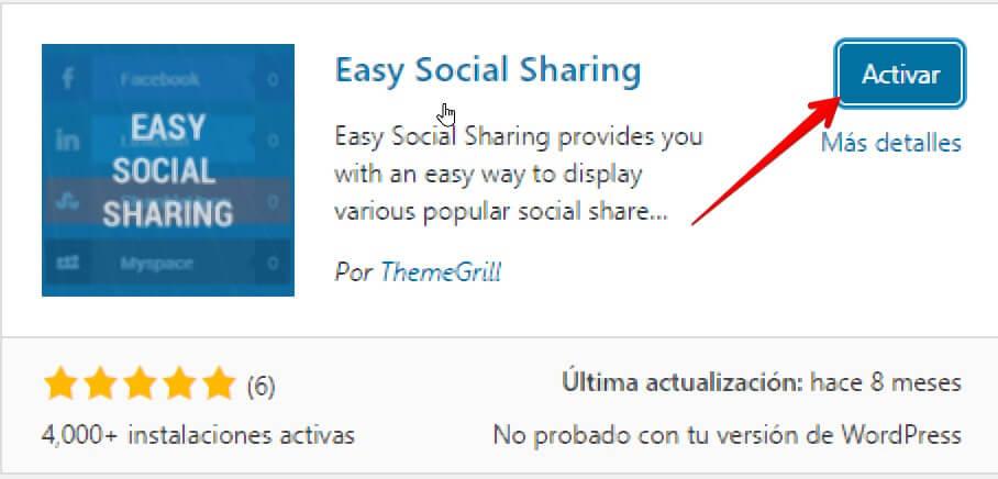 activar easy social sharing