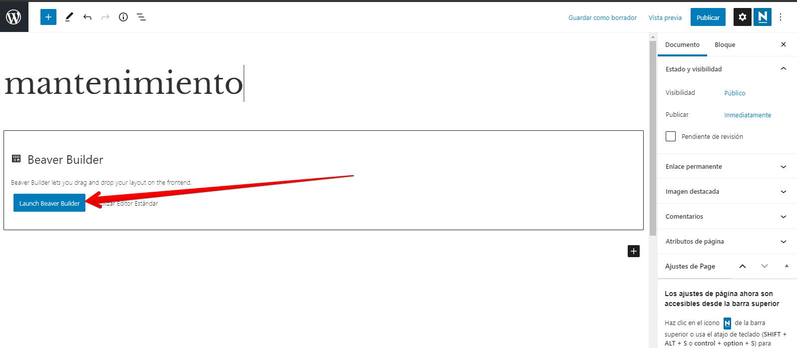 página para modo mantenimiento